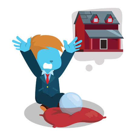 cross legged: blue businessman wishing for a house