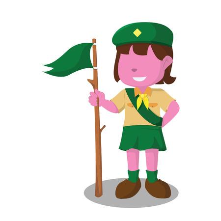 ranger: Pink girl scout illustration design.