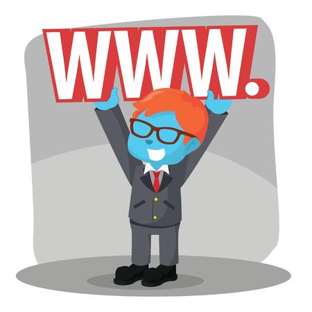 Blue businessman lifting world wide web sign.