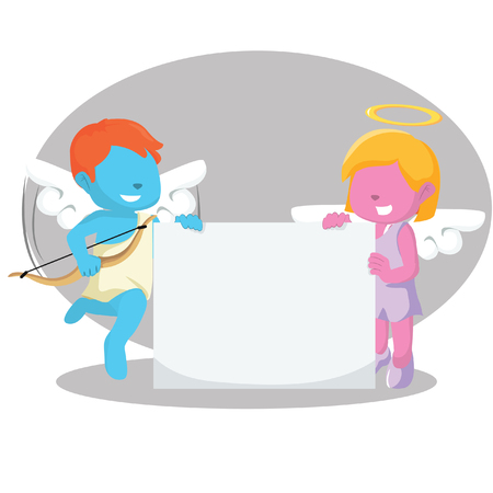 blue cupid boy and pink girl angel holding banner