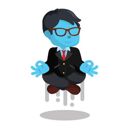 blue businessman flying when meditating