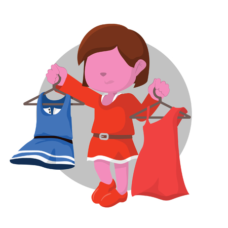 pink girl getting confused choosing dress Stock Vector - 75821053