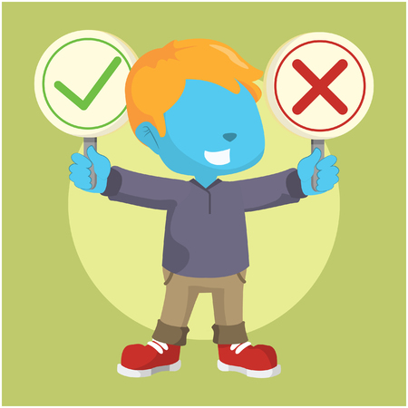 blue boy holding right and wrong sign Illustration