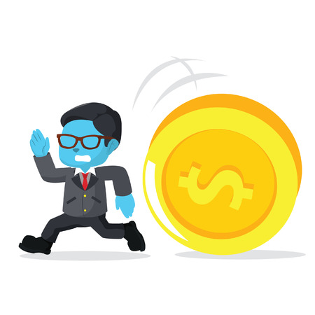 blue businessman running from giant coin