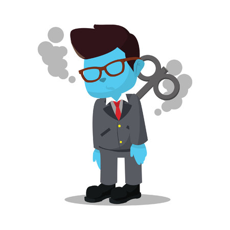 blue businessman stopped working