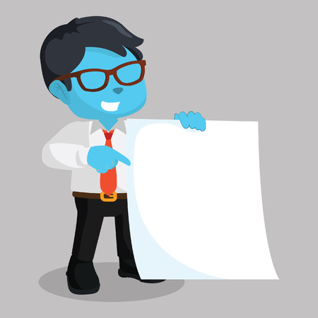 blue businessman holding blank paper