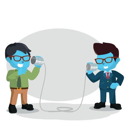 tin can phone: Blue businessman talking using tin can Illustration