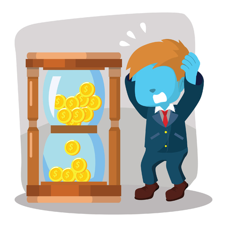 blue businessman panic with coin hourglass