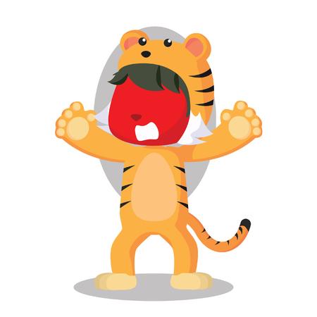 Garçon rouge en costume de tigre Banque d'images - 75918655