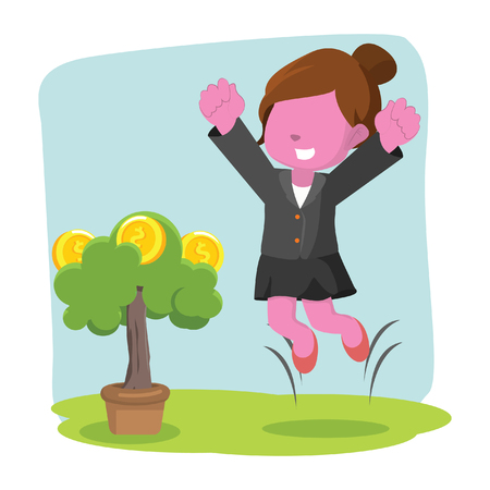 pink businesswoman happy her coin tree grow
