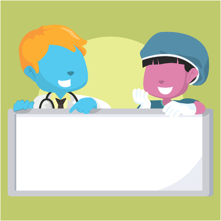 child holding sign: Blue boy doctor and pink girl surgeon holding sign Illustration