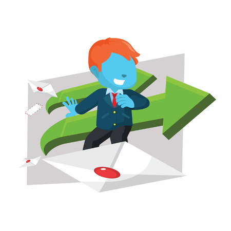 Blue businessman surf with envelope. Çizim