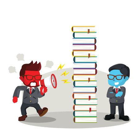 disregard: blue businessman blocking shout with book Illustration