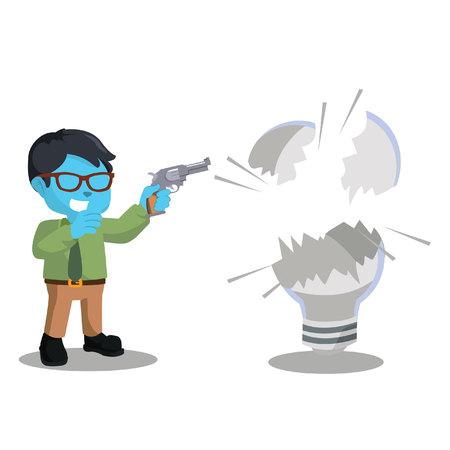 wrecked: blue businessman shooting bulb