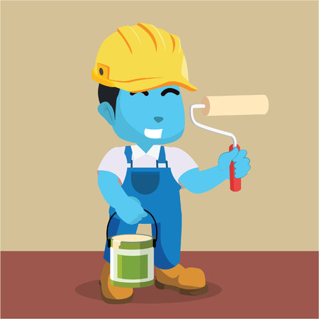 blue painter holds roller bucket