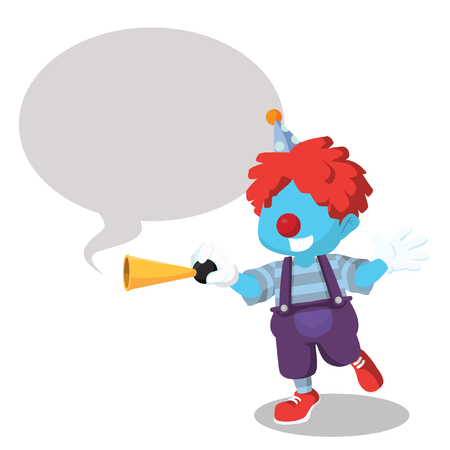 blue clown honking with callout Illustration