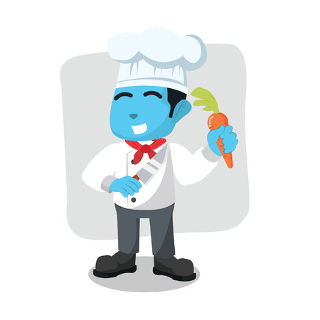blue chef holding carrot and kitchen knife Illustration