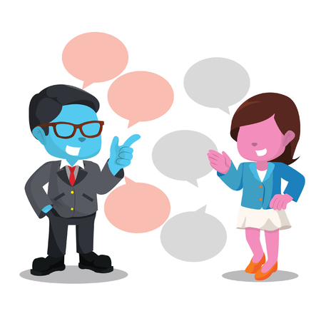 blue businessman and pink woman chatting