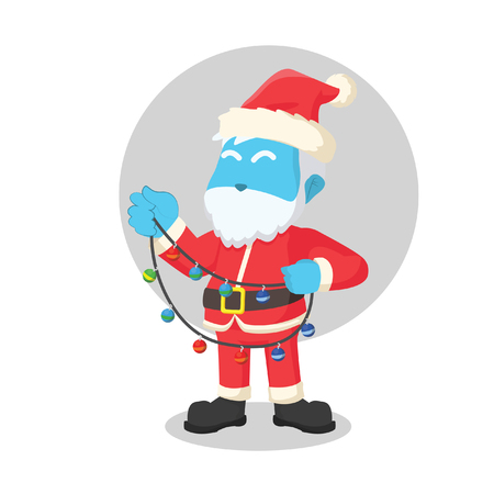 blue santa holding christmas light