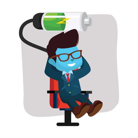 blue businessman relaxing recharging battery