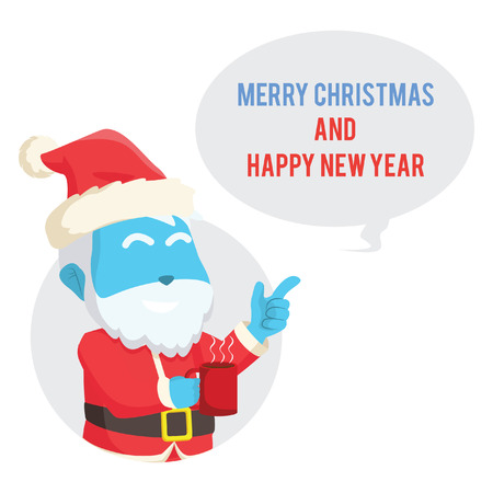 blue santa with callout merry christmas and happy new year