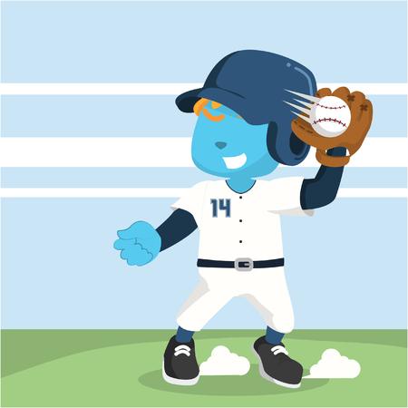 파란색 야구 선수 공을 잡기