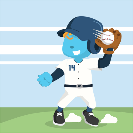 blue baseball player catching ball Ilustração
