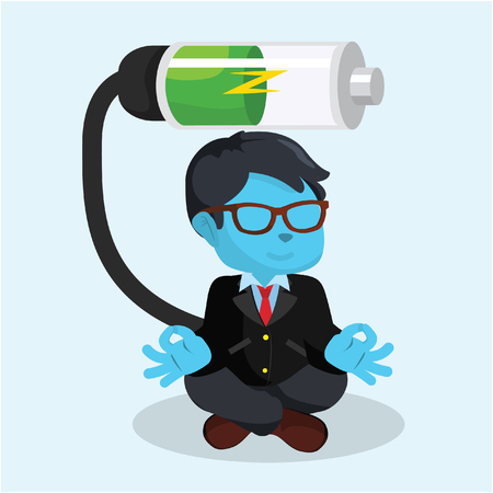 Blue businessman recharging color.