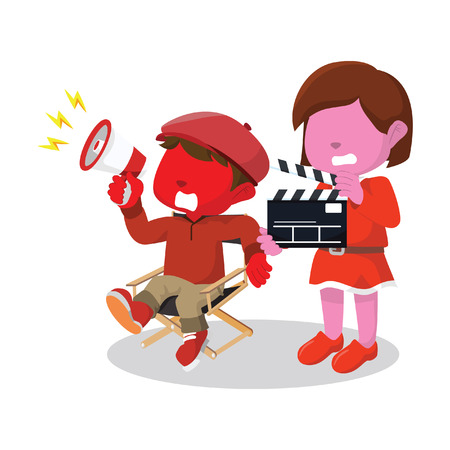 Red boy director and girl movie assistant. Banco de Imagens - 75818121