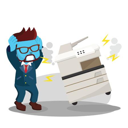 Blauwe zakenman raakte in paniek omdat fotokopie machine kapot is gegaan.