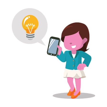 Pink businesswoman hold mobile phone and bulb. Illustration