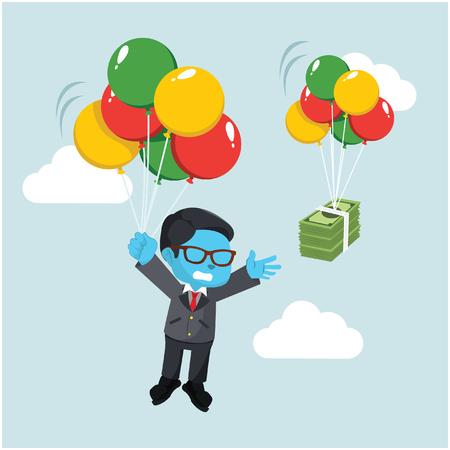 Blue businessman chasing money in sky. Ilustração