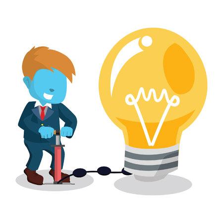 inflating: Blue businessman pumping bulb. Illustration