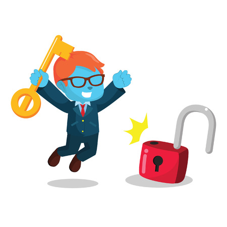 unlocking: Blue businessman successfully unlocking lockpad.