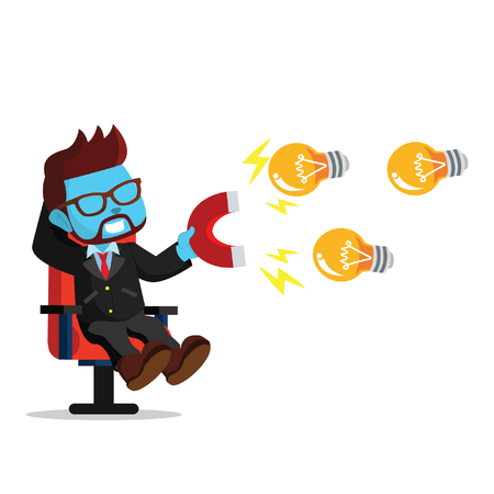 Blue businessman magnet bulb– stock illustration