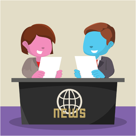 Blue boy and pink girl news anchor– stock illustration
