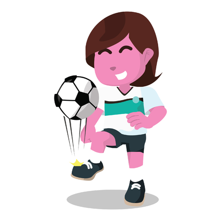 Pink female soccer player juggling– stock illustration Illustration