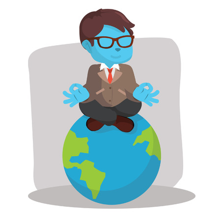 Blue businessman meditating on earth– stock illustration