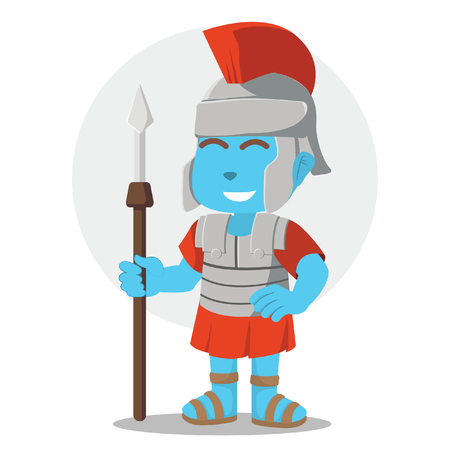 Blue roman soldier illustration design– stock illustration