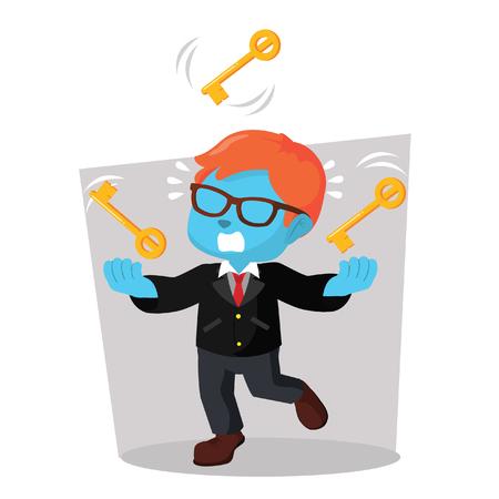 Blauwe zakenman het jongleren met de illustratie van de sleutelsvoorraad.