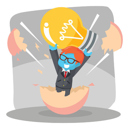 Businessman hatching from egg with holding bulb– stock illustration