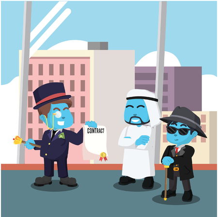 Blue rich man offering contract to arabian– stock illustration