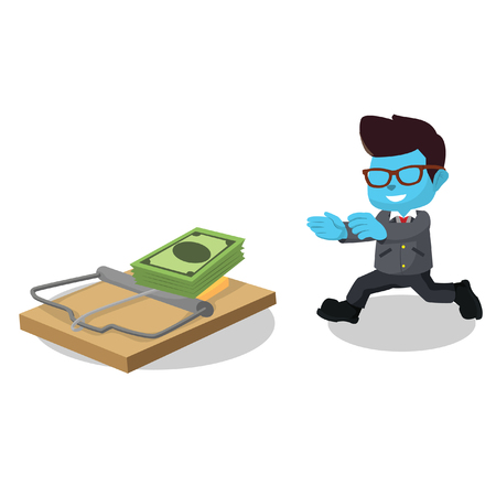Blue businessman running right into trap– stock illustration