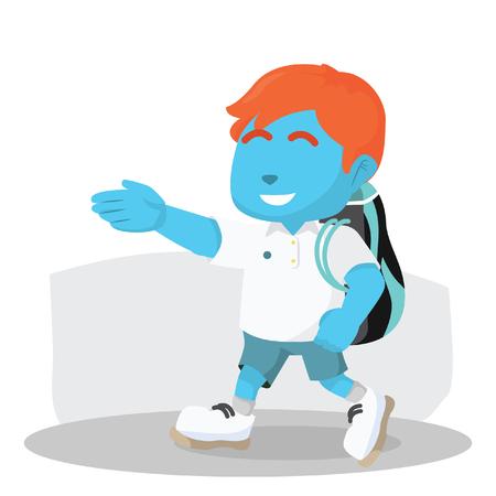 Blauwe jongen tennisspeler wandelen draagtas stock stock illustratie Stock Illustratie