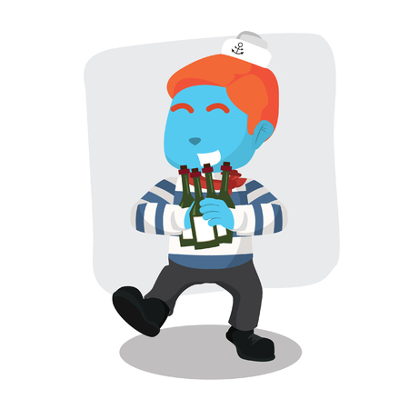 Blue sailor holding many beers– stock illustration