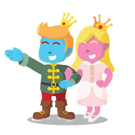 Pink princess holding hand blue prince– stock illustration Vectores