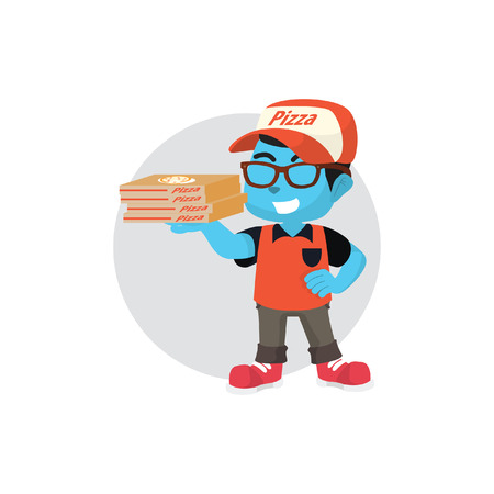 Blue pizza delivery service– stock illustration