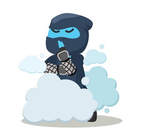Blue ninja disappear in smoke– stock illustration