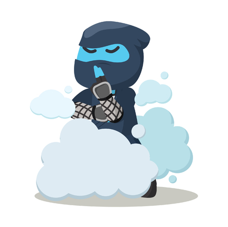 Blue ninja disappear in smoke– stock illustration Illustration