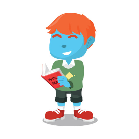 Blue boy reading book– stock illustration